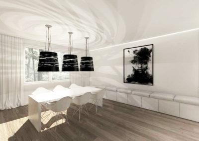 Biała, przestronna jadalnia z ażurowymi lampami grę